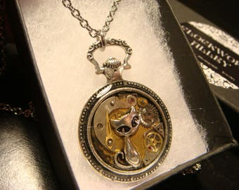 Clockwork Cat Steampunk Pocket Watch Pendant Necklace -Made with Real Watch Parts (2476)