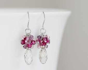 Silver Shade Swarovski Crystal Drops and Fuchsia Bicone Crystal Cluster Earrings