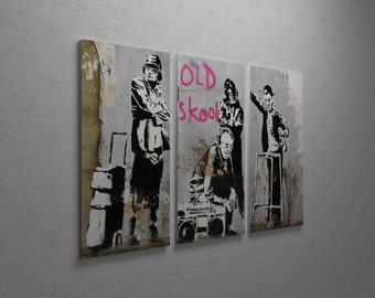 """Banksy Old Skool Gallery Wrapped Canvas Triptych Print 48"""" x 30"""""""