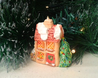 Christmas Decoration Polymer Clay, Miniature Cottage Christmas Tree Decoration, Little House in Winter Ornament, OOAK Winter Decor Gift Idea