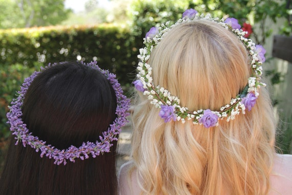 Lavender Rose Flower Crown. Baby's Breath Crown.Flower crown wedding. Purple Rose Flower Crown. Baby's Breath. Purple flower crown.