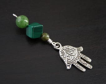 Jade Malachite Green Serpentine Hamsa / Hand of Fatima bead - Blessing, baby shower gift, pregnancy gift, doula gift, malachite pendant
