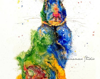 Rabbit art print: rabbit decor nursery animal art rabbit artwork rabbit gift bunny gift bunny art rabbit lover gift ellen brenneman bunny