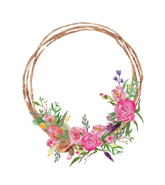 Watercolor Wreath Clipart Pink Flowers Wreath With Peonies
