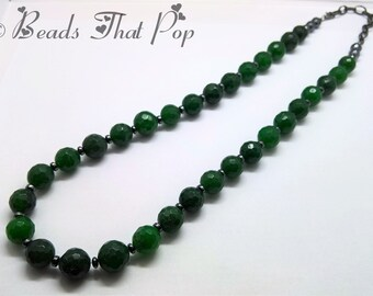Dark Green Faceted Malaysian Jade Gemstone Necklace with Gunmetal Accents, Chunky Statement Necklace, Long Necklace,Handmade, One-of-a-kind!