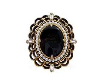 Florenza Victorian Mourning Brooch - Seed Pearls, Onyx Jet Glass, Rhinestone Baguettes, Sash Pin, 1960s Jewelry, Vintage Brooch
