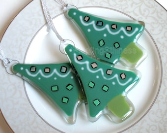 Christmas Tree Fused Glass  Ornament Green Fused Glass Swirl Geometric Party Favor