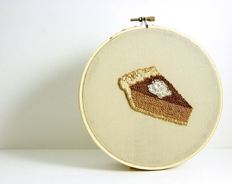 Pumpkin Pie Punch Needle Embroidery Hoop Art. Autumn Home Decor. Brown, Caramel, Tan, White. Neutral Colors. Hostess Gift. Ready to Ship