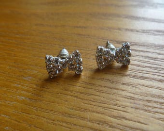 diamante bow stud earrings, vintage rhinestone stud earrings for pierced ears