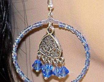Blue Beaded Hoop Earrings with  Beaded and Silver Plate Dangling Charm