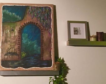 Acrylic Painting Garden Wall on Burlap Canvas