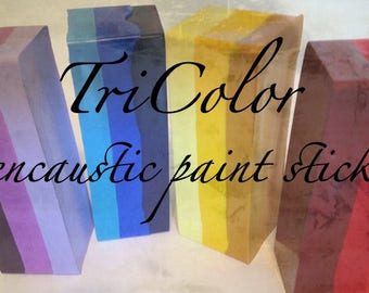 Handmade encaustic paints NEW!! TRICOLOR encaustic paint sticks - each 80ml great for mono prints