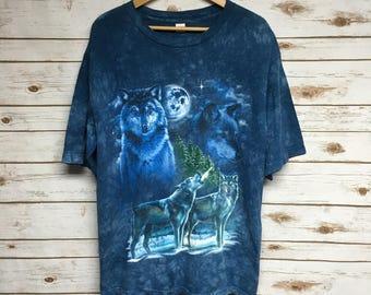 Vintage 90's Tie Dye Wolf tshirt hipster wildlife hippie The Mountain howling wolf nature scene animal print Spirit Animal - Large