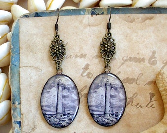 Lighthouse Earrings - Antique Nautical Print Dangle Earrings in Brass - Nautical Earrings