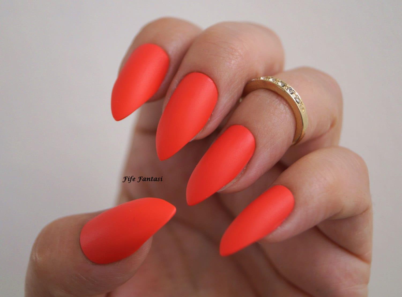 Red Matte stiletto nails, Nail art, Nail designs, Stiletto nails ...