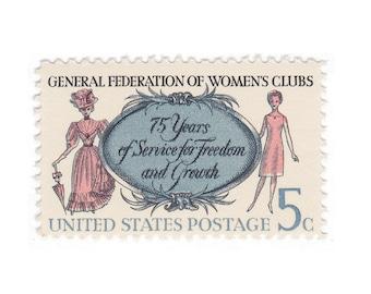 10 Unused US Vintage Postage Stamps - 1966 5c General Federation of Women's Clubs Stamp - Item No. 1316