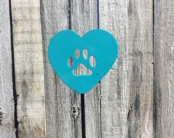 Heart w/paw print garden stake