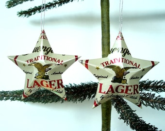Recycled Yuengling Beer Can Ornaments - Set of 2 Handmade Upcycled Beer Can Stars - Christmas Ornaments Or Gift Toppers
