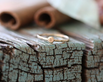 solid 14k gold pebble initial skinny stacking stackable ring