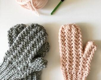 Crochet Sprig Stitch Mittens Pattern