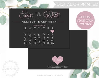 Save the Date Calendar | Save the Date Card | Save the Date | Custom Color Scheme