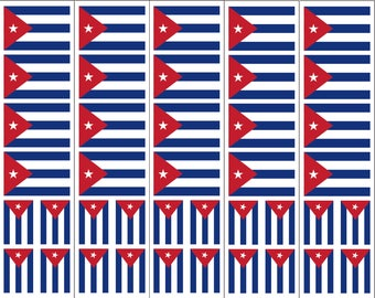 40 Removable Stickers: Cuban Flag, Cuba Party Favors, Decals