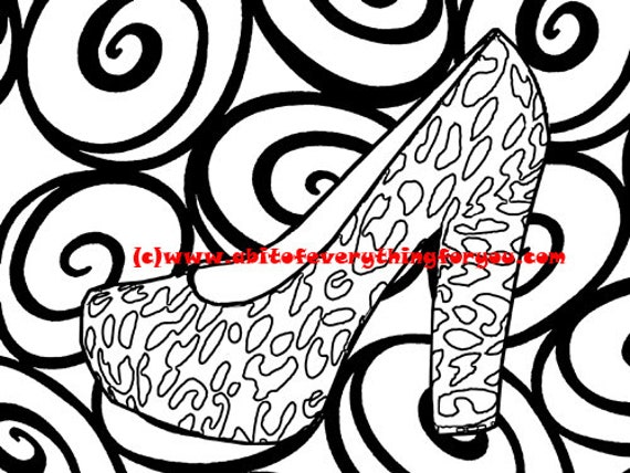 leopard high heels swirl pattern art coloring page printable art download digital fashion colouring pages image graphics line art