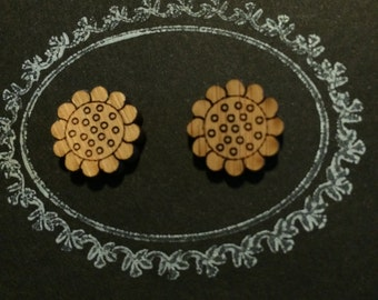 Laser Cut Bamboo 'Daisy' Stud Earrings