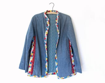 Calico Jacket — vintage denim patchwork jacket / 1970s boho jacket / colorful hippie coat / vintage 1970s jacket / quilt one-of-a-kind coat