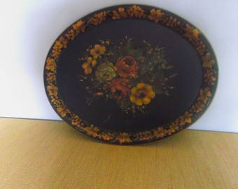 Antique Large Toleware Serving Tray --Hand Painted -- Cold Painted Method