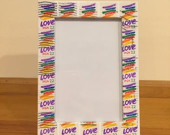 Rainbow Love Postage Stamp Frame (Holds 4x6 Photo)