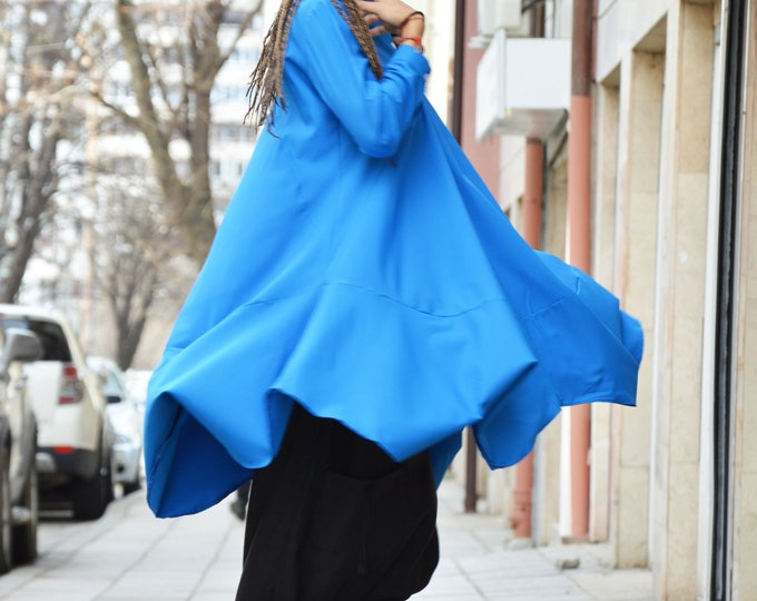 Blue Long Sleeved Oversized Shirt, Asymmetric Casual Buttoned Shirt, Collar Plus Size Shirt Top by SSDfashion