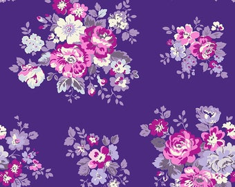 Purple Cotton Fabric, Floral Print, Georgette Viscose Fabric, Quilt Material, Decorative Fabric, Fabric By The Yard, MIN-FL12B