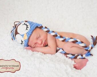 Sleepy Baby Owl Newborn Hat