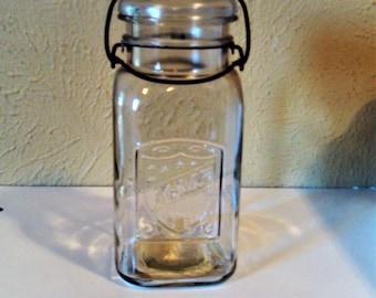 Acme Square Quart Size Canning Jar 1920's