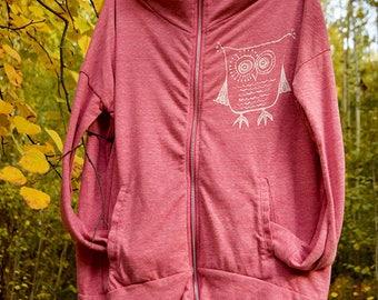Little Owly Screenprinted Zip Hoodie