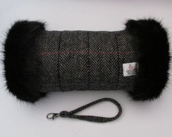 Harris Tweed Grey Herringbone with Checks & Flecks of Colour Hand Muff with Black Faux Fur Trim