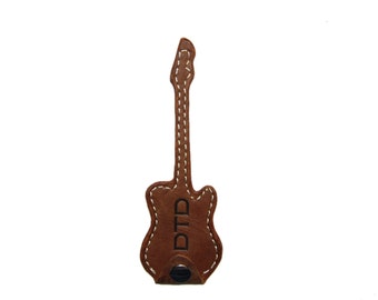 Guitar Pick Holder, Guitar Pick Case Brown, Personalized Leather Pick Holder