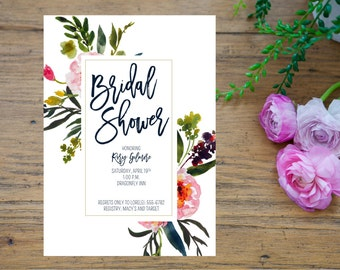 Printable Bridal Shower Invitation, Floral Watercolor Bridal Shower Invitation Download, Navy shower invitation