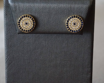 Evil Eye Stud Earrings-Yellow Gold