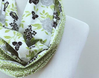 Cotton Infinity Scarf. Lightweight Scarf for Women. Green Loop Scarf. Floral Circle Scarf. Spring Scarf. Gift for Her. Gift for Mom under 50