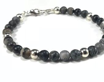 SALE Black Stone Bracelet Gray Bracelet Gemstone Bracelet Black Jasper Bracelet Black Beaded Bracelet Healing Bracelet for Men Gift for Male