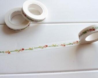 Floral Washi Tape, Skinny Thin Washi Tape, UK Washi Tape, Flower stickers, Planner tape, Bullet Journal Tape (TT-136)