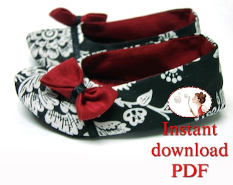 Sewing. Baby. Pattern. Formal Ballerina Shoes booties soft sole crib newborn toddler DIY printable tutorial