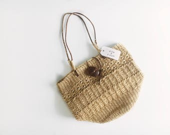 Woven Straw Shoulder Bag with Leather Straps