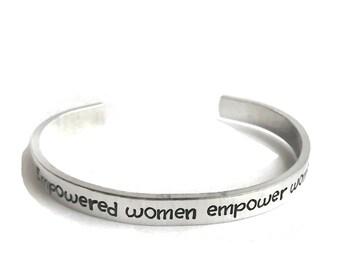 empowered women empower women metal stamped aluminum cuff bracelet // political statement feminist feminism