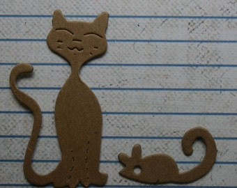 3 Bare chipboard die cuts cat and mouse diecuts