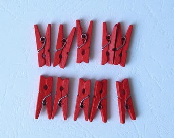set of 10 mini wooden clothespins red 25 mm