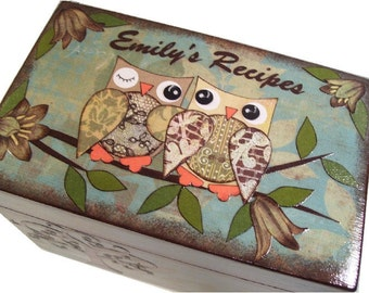 Recipe Box, Decoupaged Wedding Recipe Box, Guest Book Alternative, Holds 4x6 Cards, Storage Organization Box, Owl Box MADE To ORDER