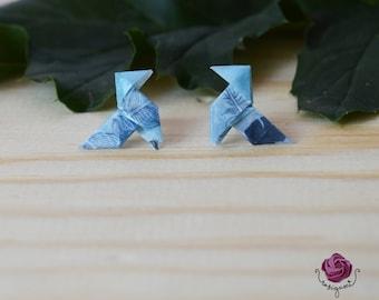 Origami earrings,paper earrings,gift for woman,orange earrings,blue earrings,geometric earrings, small earrings, gift for girl